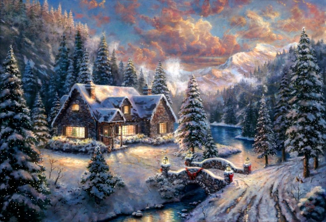 Country Christmas Background.Thomas Kinkade Winter Cottage Desktop Background Cute