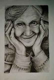 رسم عجوز بالقلم الرصاص