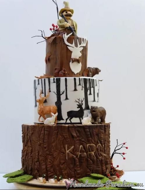 3D торт лесной тематики из сахарной мастики (11)