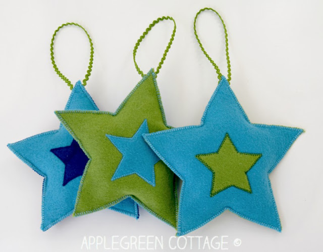 Learn how to make felt Christmas star decorations from felt. Tutorial by Apple Green Cottage