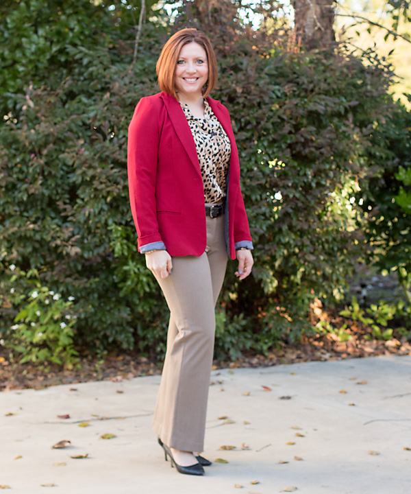 fall office outfit, red and leopard print