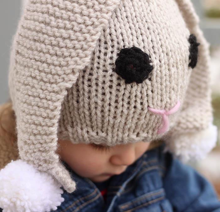 Knit Bunny Hat Pattern : Bunny Baby Hat Free Knitting Pattern - Gina Michele