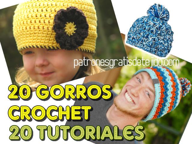 20 Gorros para tejer a Crochet ~ 20 Tutoriales 7a80f62d314