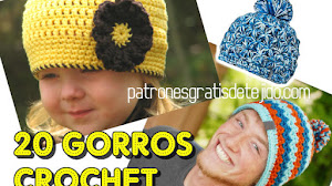 20 Gorros para tejer a Crochet ~ 20 Tutoriales