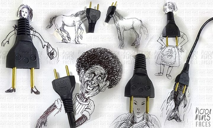 27-Plugged Drawings-Victor-Nunes-The-Art-of-Making-and-Drawing-Faces-using-Everything-www-designstack-co