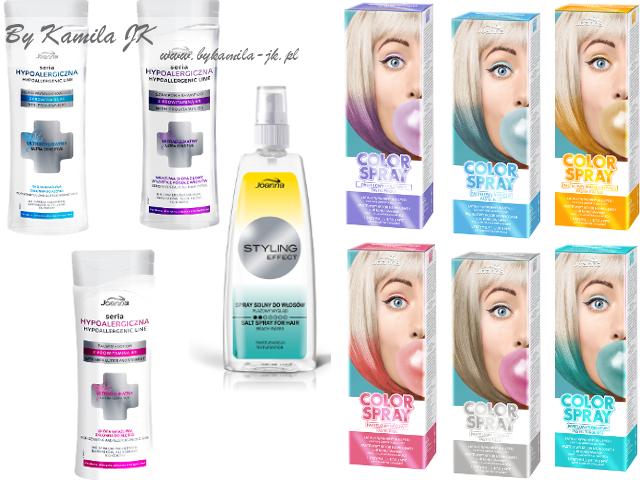Joanna nowość seria hypoalergiczn kolorowe spraye do włosów Color up pastelowe spray solny beach look