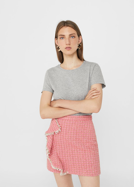 Mango pink tweed skirt