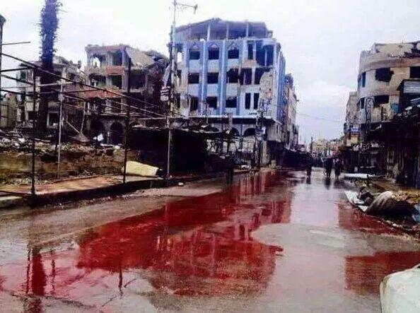 Río de sangre en Siria, pero no importa; no es París, no es Niza