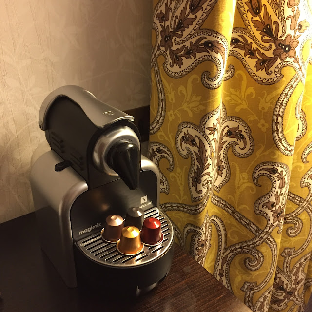 Coffee making facilities in The Newark Suite at Thoresby Hall, Nottinghamshire
