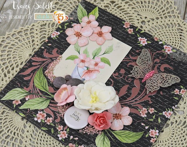 """Enjoy Every Moment"" Mixed Media Card by Tracey Sabella for Studio75: #traceysabella #studio75 #timholtz #finnabair #helmar #tombo #eksuccess #jillibeansoup #mixedmedia #shabbychic #mixedmediacard #mixedmediacards #shabbychiccard #shabbychiccards #diycard #diycards #fussycut #handcraftedcard #handcraftedcards #handmadecard #handmadecards #springcard"