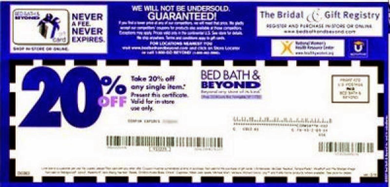 [Bed Bath And Beyond] Bed Bath and Beyond 20% Printable Coupon