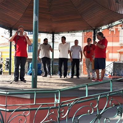 No coreto da praça: Walter Arruda, o Secretário de Cultura de Tiago de Faria, o Prefeito de Socorro André Eduardo Bozola de Souza Pinto, Acácio Zavanella, Jean Tosetto e Romeu Nardini.