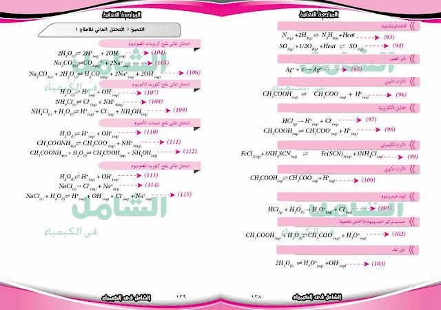 معادلات منهج الكيمياء بالكامل للصف الثالث الثانوي 2019