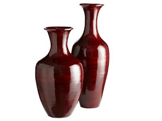 Glossy red bamboo urns vases from Kwikk's Beautiful Colorful and Stylish Vase Collection