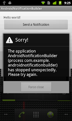 IllegalArgumentException: contentIntent required on Nexus One