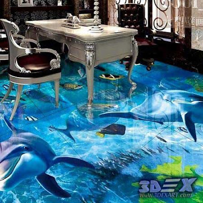 3d dolphin flooring for office room, dolphin tiles, 3d epoxy floor art mural
