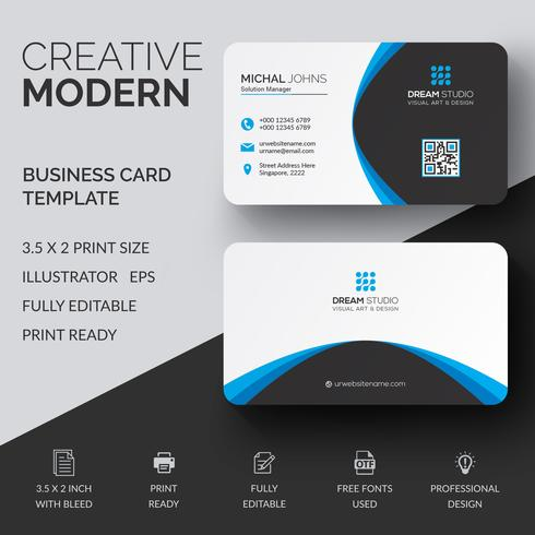 Blue elegant corporate card free vector