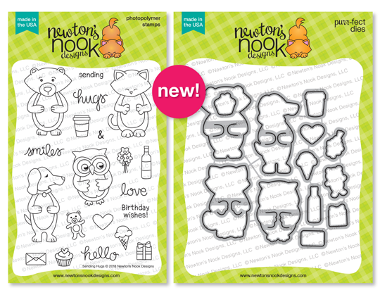 Sending Hugs | Hug themed Stamp Set and die set by Newton's Nook Designs #newtonsnook