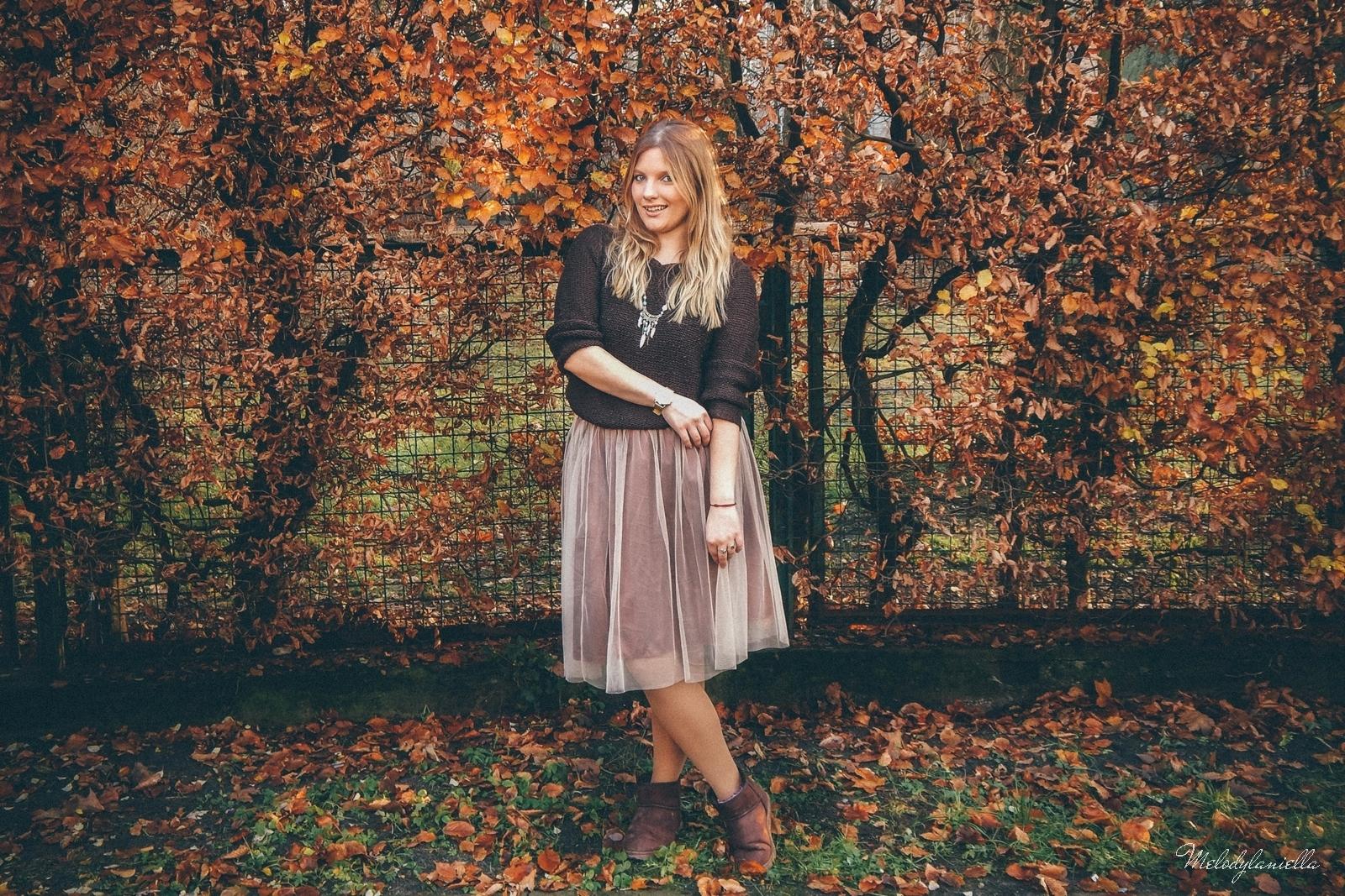 1 jesienna stylizacja tutu tiulowa spódnica dla dorosłych brązowy sweter torebka manzana melodylaniella autumn style fashion ciekawa stylizacja na jesień brązowa spódnica