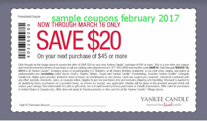 Printable Coupons 2018: Yankee Candle Coupons