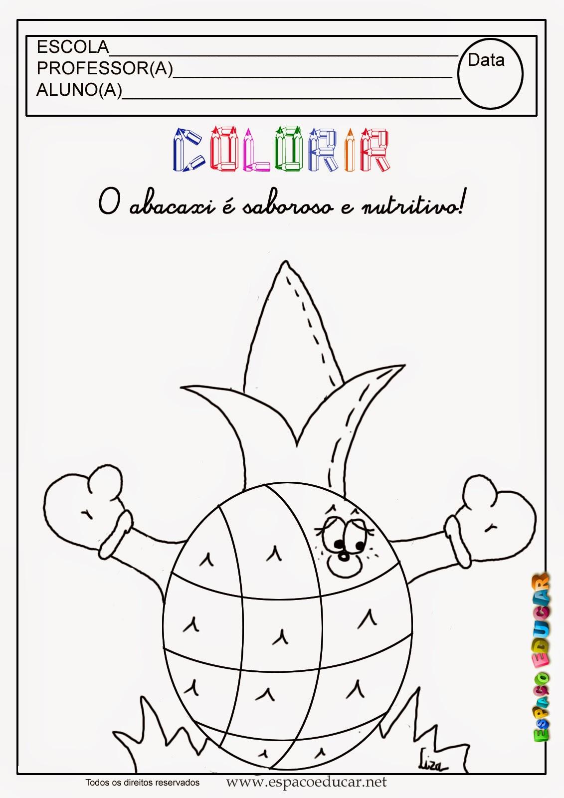 Desenho De Abacaxi Para Colorir Pintar Imprimir Espaco Pedagogico