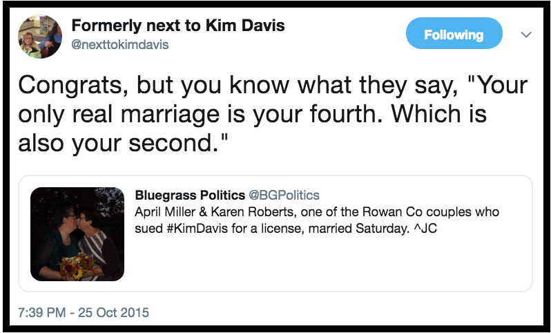 @NexttoKimDavis Congrats to same-sex couple who sued Kim Davis County Clerk