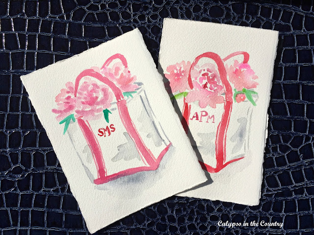 Customized watercolors by Jeanne McKay Hartmann - love the monograms!