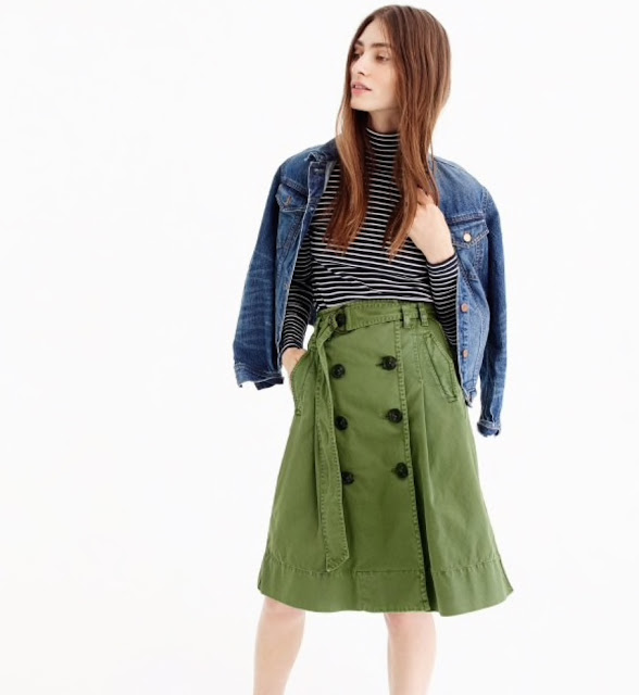 j crew chino trench skirt
