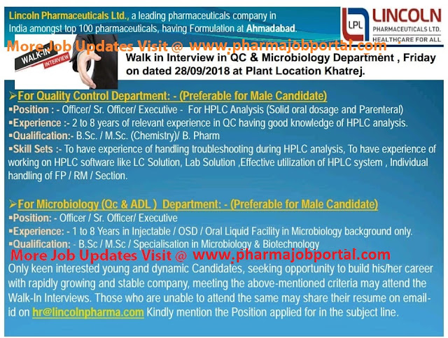 Lincoln Pharmaceuticals Ltd Walk In Interview  for QC & Microbiology Departments at 28 Sep