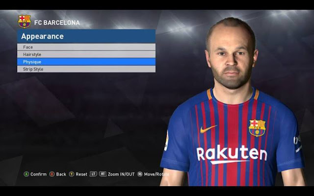Face Andres Iniesta (Barcelona) PES 2017
