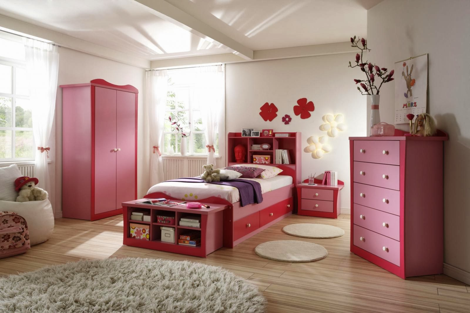 Home Decorating Interior Design Ideas: Pink Bedding for a ... on Girls Bedroom Ideas For Very Small Rooms  id=36155