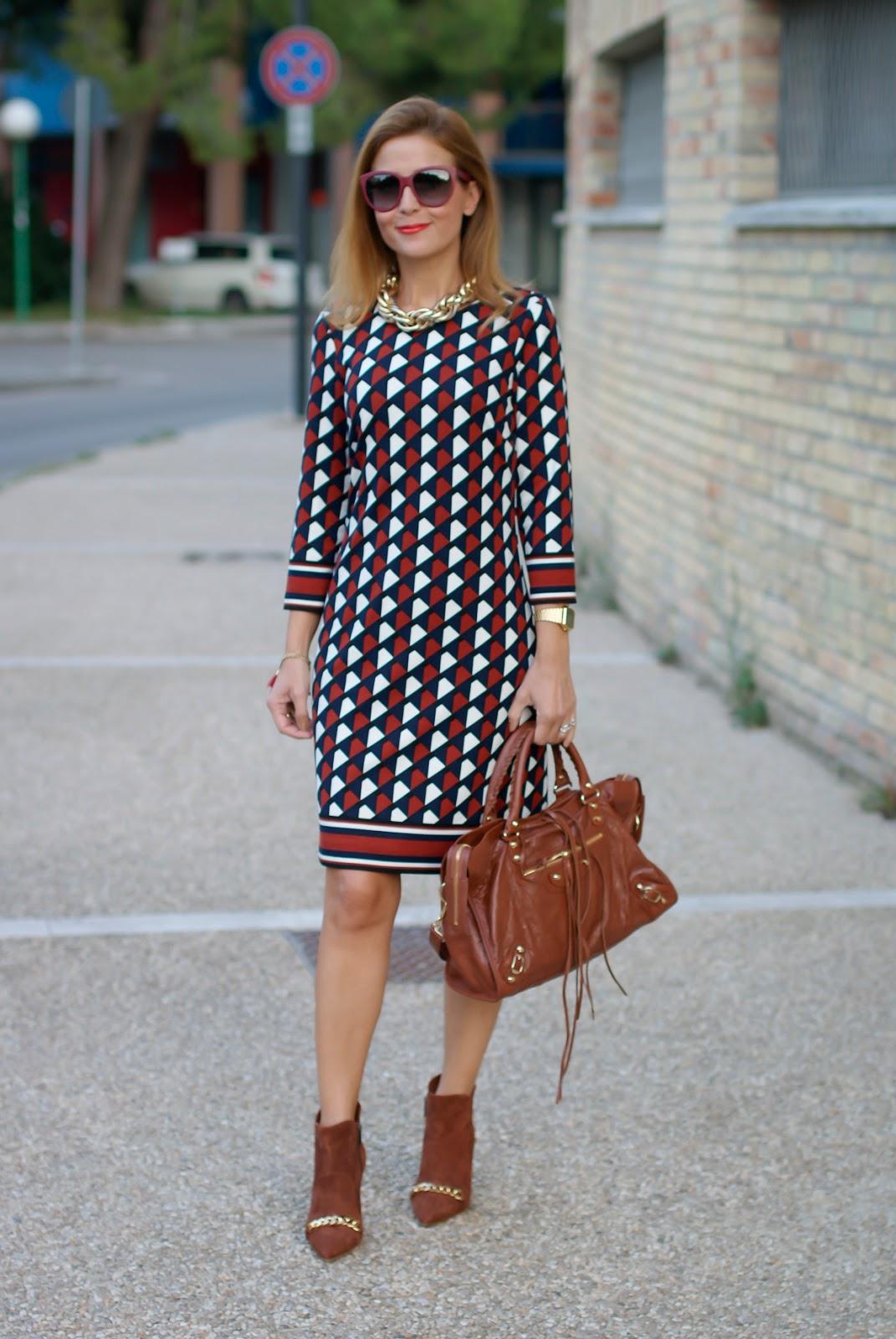 Geometric print dress  1.2.3 Paris Fall Winter collection 11b005209b0