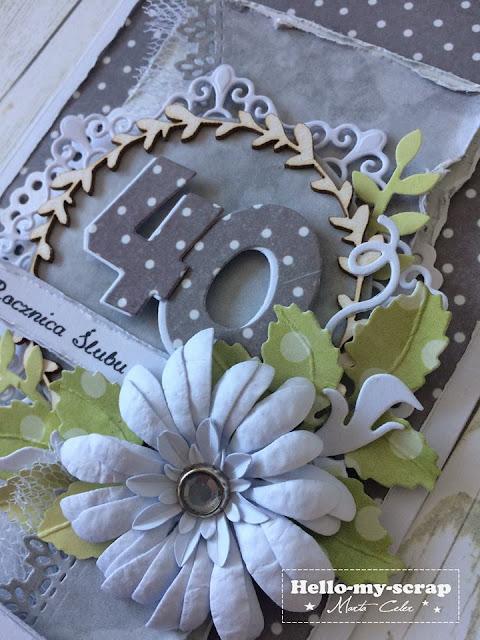 kartka ozdobiona tekturkami i kwiatem