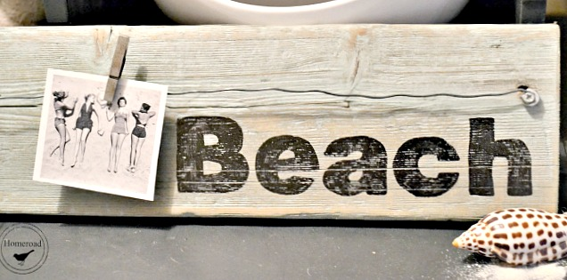 Beach stenciled sign with vintage photo