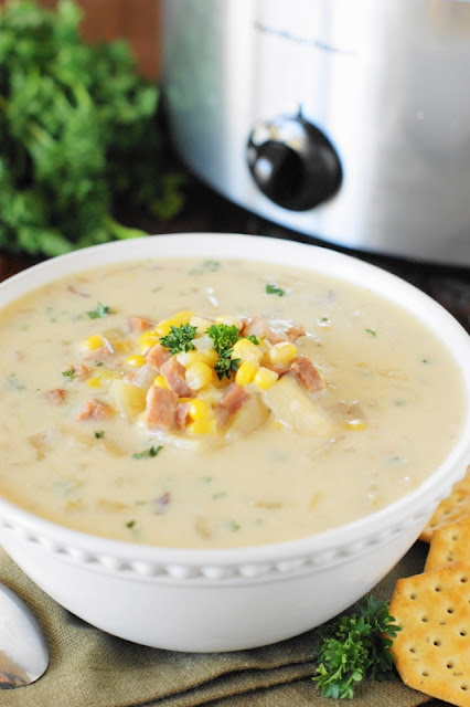 Slow Cooker Ham & Corn Chowder is a deliciously hearty and creamy meal perfect for sharing together as a family.