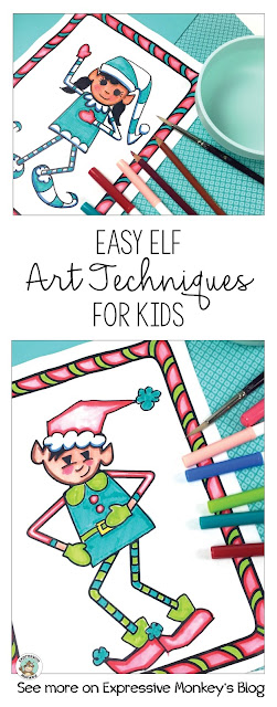 Teachers ... need a mess-free art activity for kids? Take a look at these painting without paint ideas for kids using elf drawings.