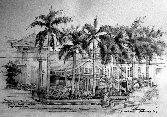 Sketsa The Phoenix Hotel Yogyakarta tampak depan