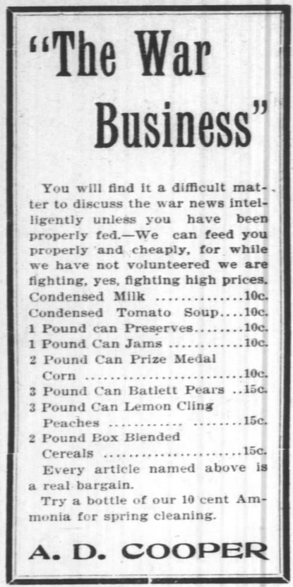 AD Cooper advertisement, Asheville Citizen (Asheville, NC), 3 May 1898, p 4.