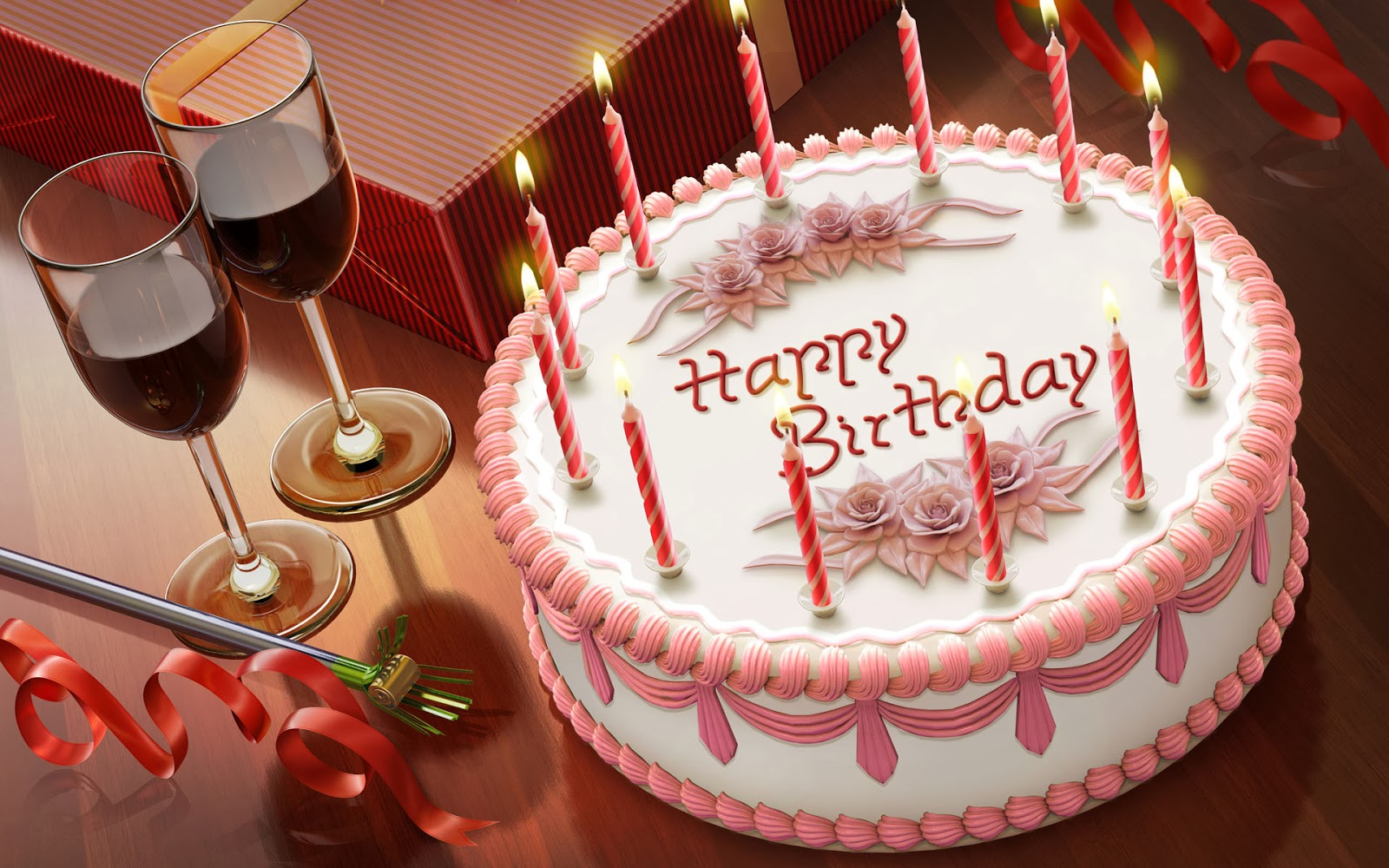 Free Happy Birthday Text Message| Happy Birthday Cake Image| Romantic birthday cake wine Image Download