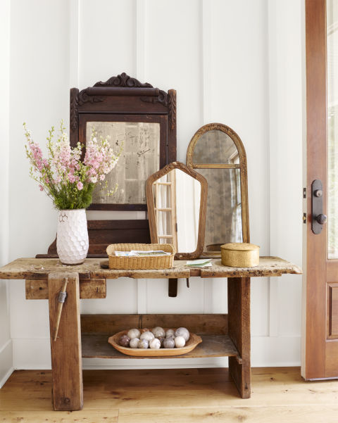 Beautiful modern farmhouse entry with rustic table on Hello Lovely Studio