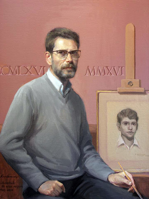 Felipe Santamans (Valencia, 1951 -  ?), Portraits of Painters, Fine arts, Self- Portrait, Autorretrato, Felipe Santamans, Pintores españoles,  Pintor de Bodegones, Bodegones al pastel, Pintor Valenciano, Alex Alemany, Antonio Vera mahedero, Fernando Casanova Escorihuela
