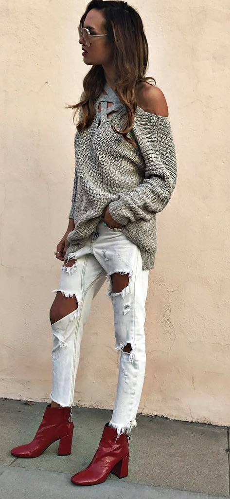 street style outfit: one shoulder knit + rips + boots