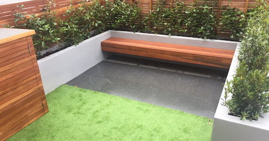 Modern front garden back garden hardwood mosaic artificial grass paving raised beds Dulwich London South West Balham Clapahm Chiswick Kingston bike store