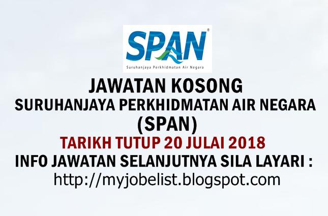 Jawatan Kosong di Suruhanjaya Perkhidmatan Air Negara (SPAN) Julai 2018