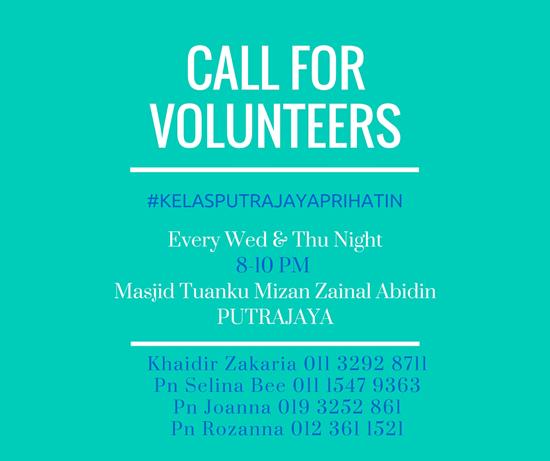 Kelas Putrajaya Prihatin - Mencari Sukarelawan