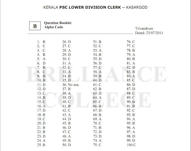 India Latest Updates: LDC Kasargod Answer Key 2011 by