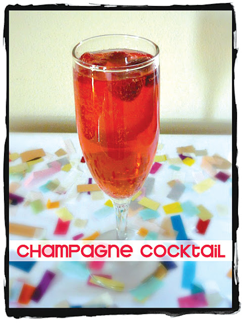 champagne cocktail, raspberry champagne cocktail, confetti, birthday