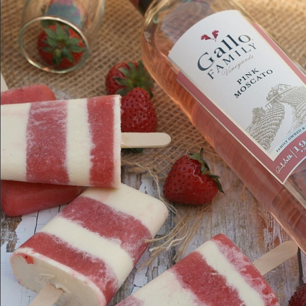 Strawberry Pink Moscato Ice Pops