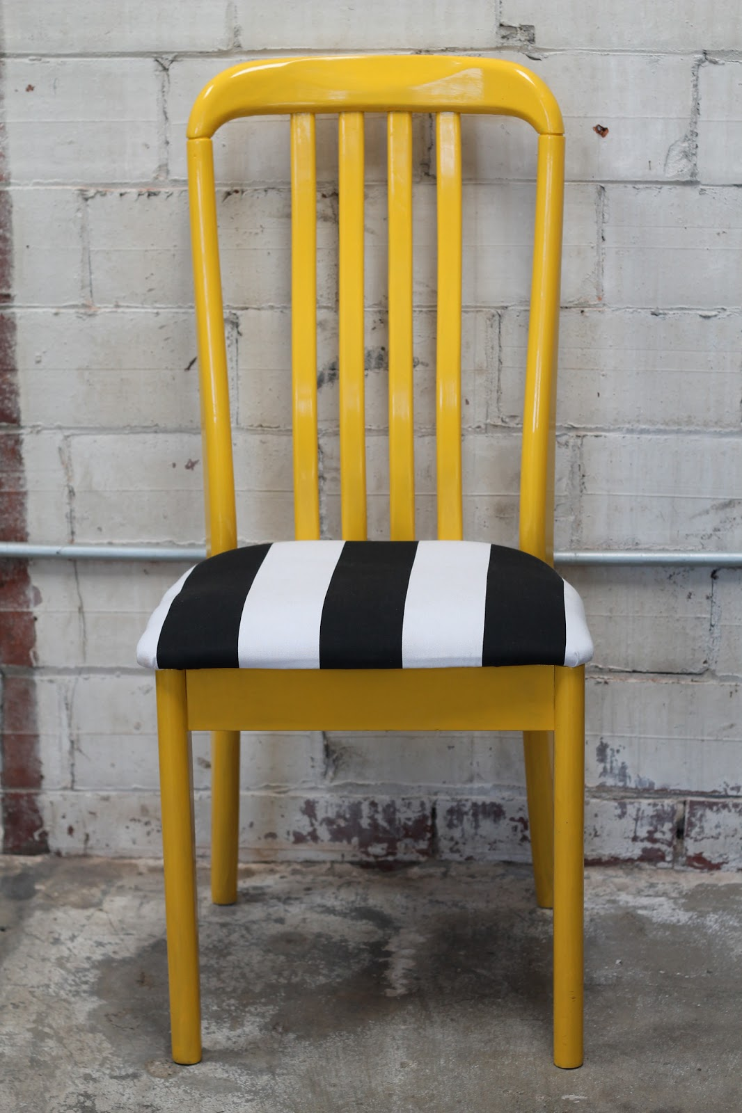Walrus: Yellow Painted Chair with Black and White Striped Seat