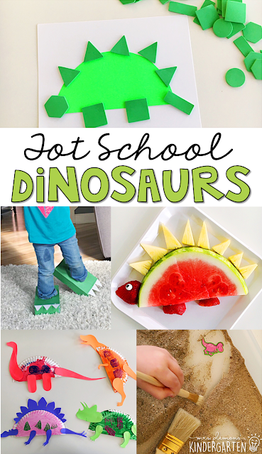 Tons of dinosaur themed activities and ideas. Weekly plan includes books, fine motor, gross motor, sensory bins, snacks and more! Perfect for tot school, preschool, or kindergarten.